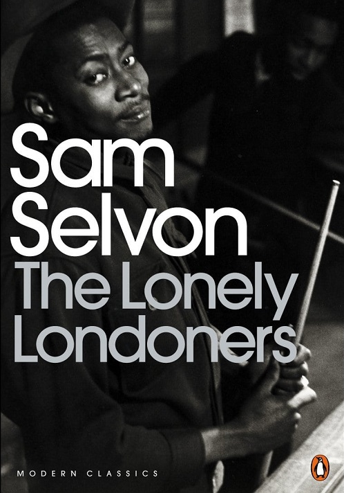 The audiobook cover of The Lonely Londoners - a black and white photo of a black man looking at the camera with the title in white text