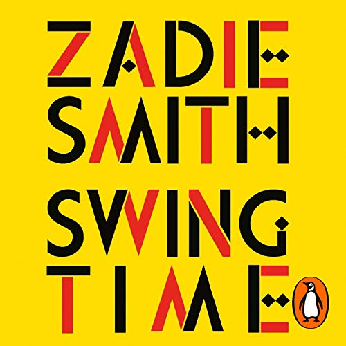 The audiobook cover of Swing Time - a yellow background with the title in black and red patterned text