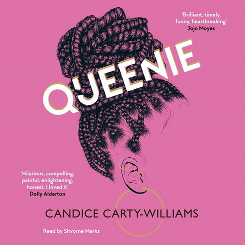 The audiobook cover of Queenie - a pink background with a silhouette illustration of black hair in a bun with the title text in white