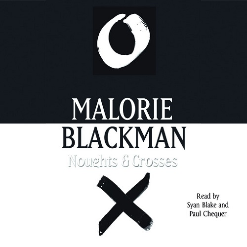 The audiobook cover of Noughts and Crosses - the image is divided horizontally into black and white with a white nought on the top and a black cross on the bottom