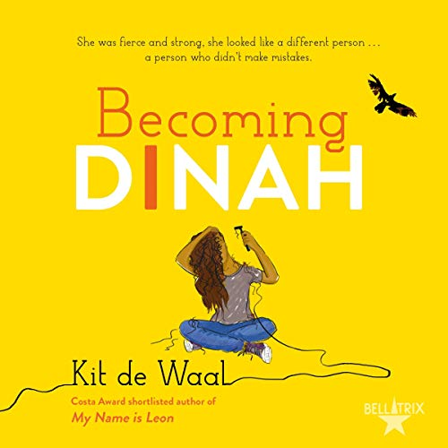 The audiobook cover of Becoming Dinah - a yellow background with an illustration of a teen girl in the centre