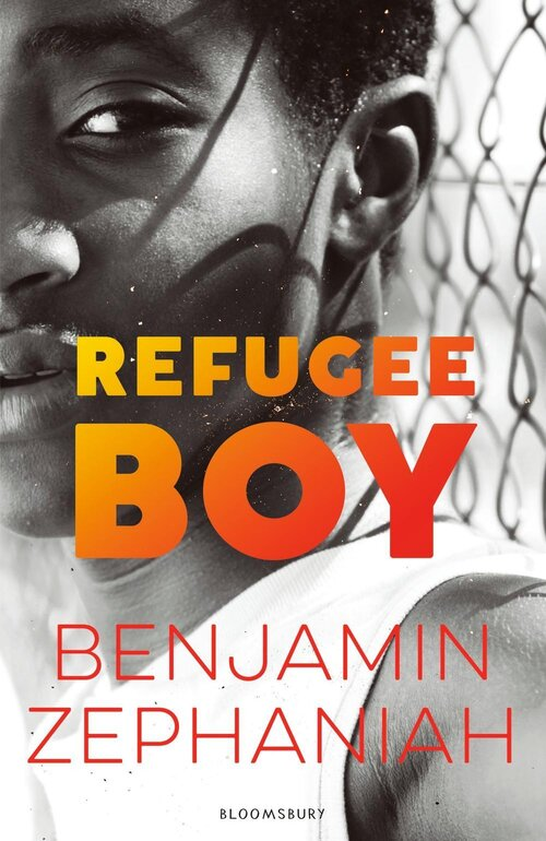 The cover of Refugee Boy - an image of a young boy looking at the camera with the title text in orange and yellow