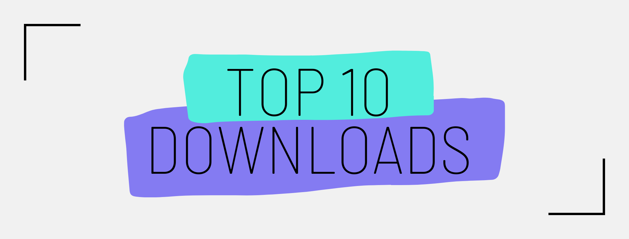A rectangular image with text on top of green and purple blobs. Text reads Top 10 Downloads