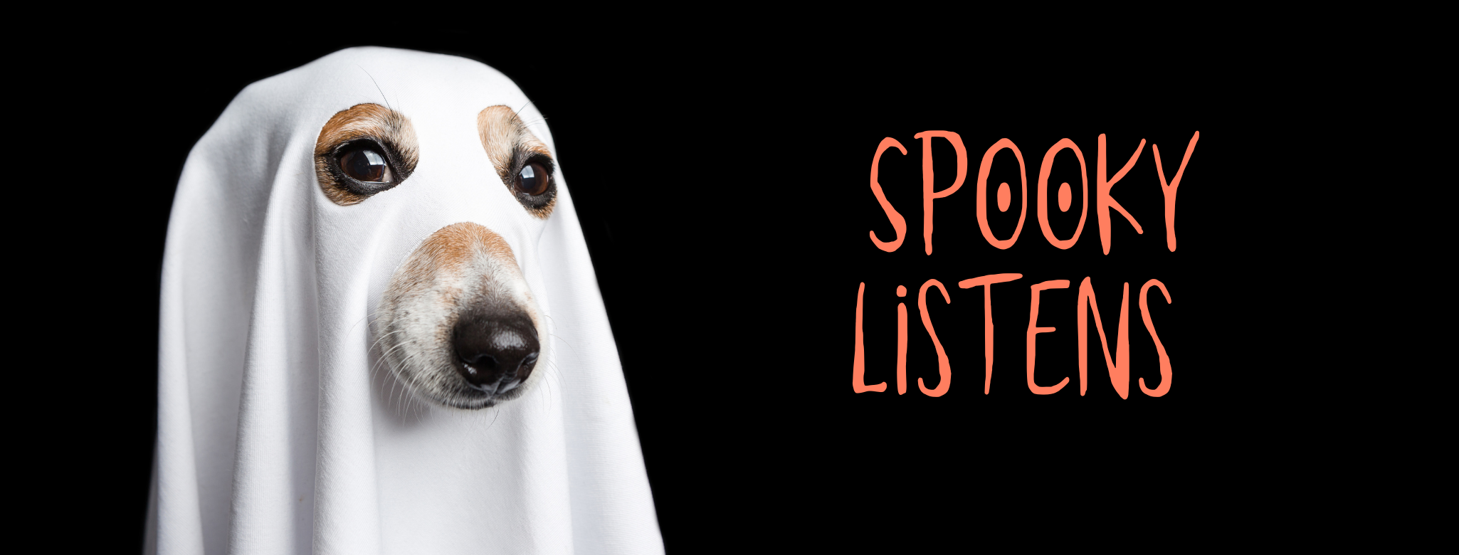 A black background with a photo of a dog wearing a sheet with nose and eye holes cut out so it looks like a ghost. Headline reads Spooky Listens