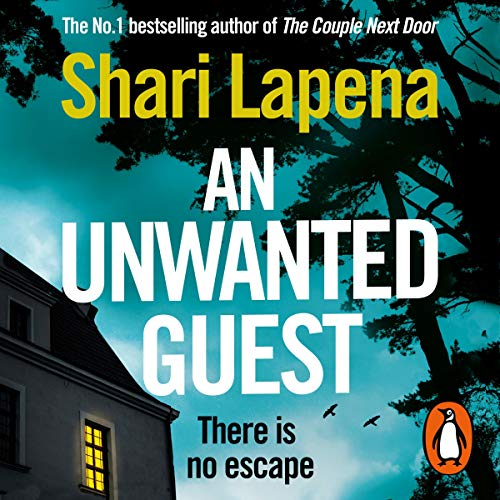 The audiobook cover of An Unwanted Guest which features a hotel with one room lit up from the inside features a