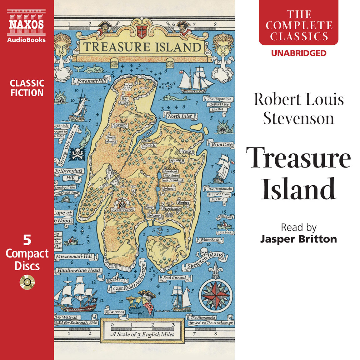 The audiobook cover of Treasure Island