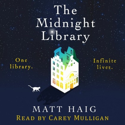 The audiobook cover of The Midnight Library