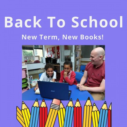 Purple background with a photo of a children and a teacher sitting at a desk and looking at a laptop. Text reads Back to School: New Term, New Books!