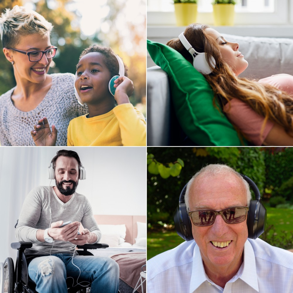 4 photo compilation, top left is a woman and child smiling, top right is of a girl lying on a sofa with headphones, bottom left is of a younger man wearing headphones and bottom right is of an older man smiling at the camera.