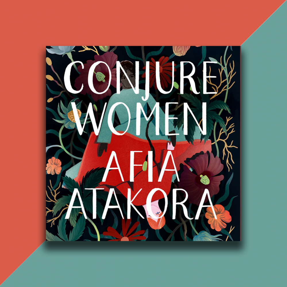 The audiobook cover of Conjure Women on a background divided diagonally into red and blue