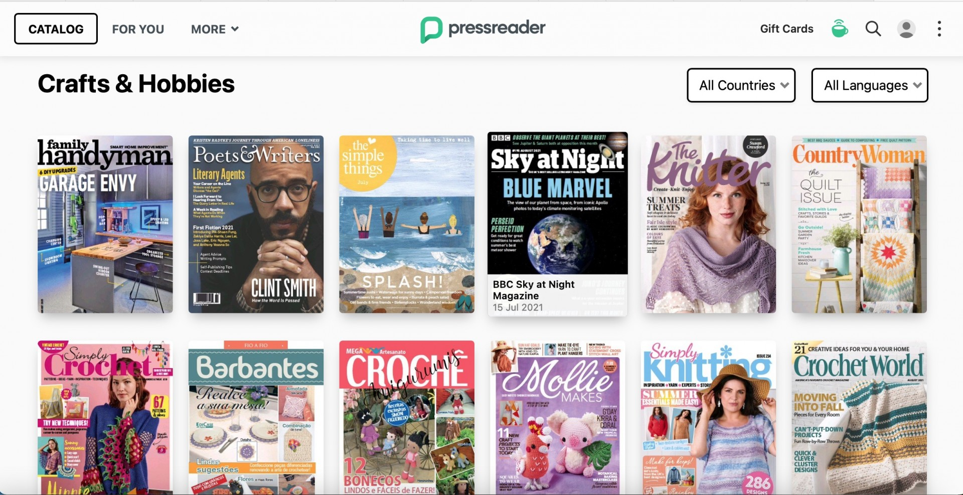 Image of some of the titles you can choose on the PressReader site.
