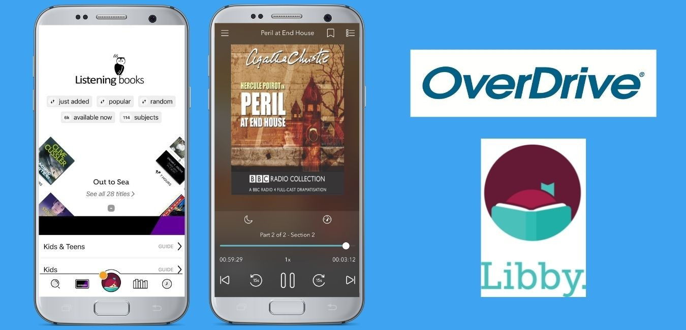 Logos for OverDrive and Libby with images of how they appear on a phone screen.